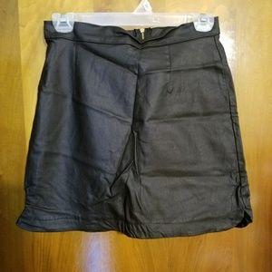 Short leather skirt